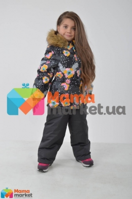 Зимний комплект для девочки Huppa WONDER 41950030, цвет gray pattern/ dark gray 81948
